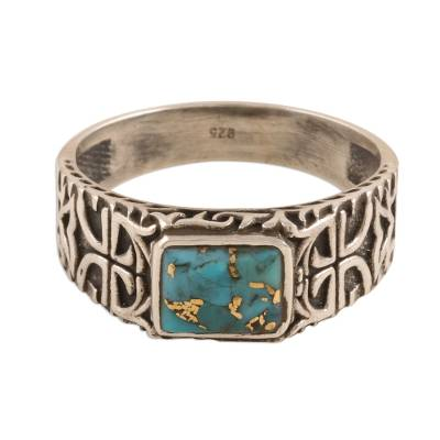 Men's sterling silver band ring, 'Mysterious Glyph' - Sterling Silver Men's Ring with Composite Turquoise