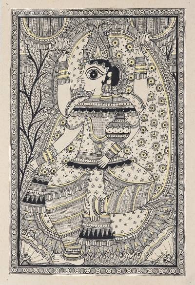 Madhubani Folk Art Painting of Hindu Goddess Lakshmi