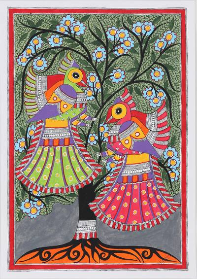 Madhubani Style Painting of Birds in Tree