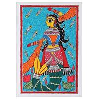 Madhubani painting, 'Mermaid' - Mermaid Madhubani Painting on Paper