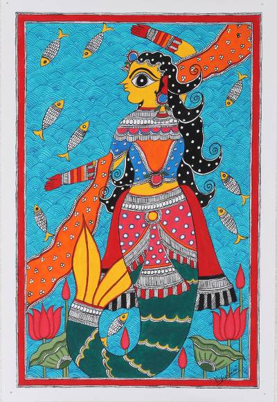 Mermaid Madhubani Painting on Paper