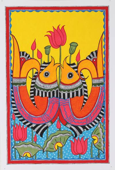Colorful Madhubani Painting with Fish Motif