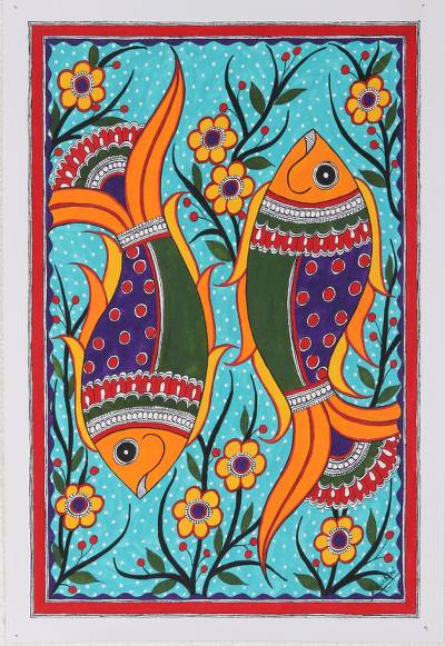 Acrylic on Paper Madhubani Painting of Fish