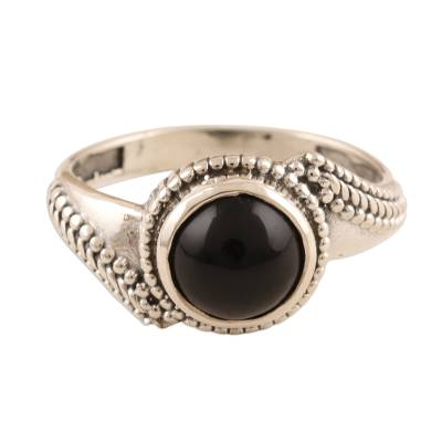 Black Onyx and Oxidized Sterling Silver Ring