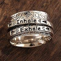 Sterling silver meditation spinner ring, 'Just Breathe' - Sterling Silver Inhale Exhale Meditation Spinner Ring