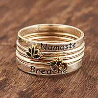 Sterling silver stacking rings, 'Peaceful Greetings' (set of 5) - 5 Stackable Sterling Silver Rings Namaste and Breathe