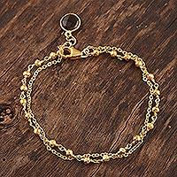 Gold plated smoky quartz charm bracelet, 'Golden Power' - 18k Gold Plated Beaded Charm Bracelet