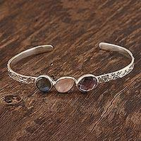 Multi-gemstone cuff bracelet, 'Captivating Trio' - Multi-Gemstone Cuff Bracelet with Labradorite