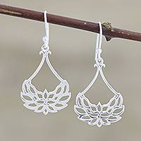 Sterling silver dangle earrings, 'Gentle Lotus' - Openwork Lotus Blossom Sterling Silver Earrings