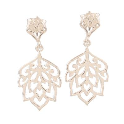 Sterling silver dangle earrings, 'Jali Acanthus' - Acanthus Leaf Sterling Silver Dangle Earrings
