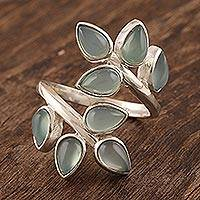 Chalcedony cocktail ring, 'Leafy Glory' - Artisan Crafted Chalcedony Cocktail Ring