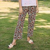 Cotton drawstring pants, 'Paisley Symphony'