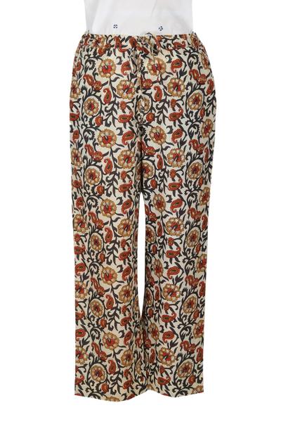 Cotton drawstring pants, 'Paisley Symphony' - Drawstring Cotton Floral Paisley Pants