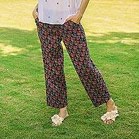 Cotton drawstring pants, 'Tulip Delight' - Drawstring Cotton Red and Navy Tulip Print Pants