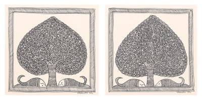 Madhubani Painting Diptych in Black and White (Pair)