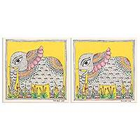 Madhubani diptych, 'Regal Elephant' (pair) - Elephant Motif Madhubani Paintings Diptych (Pair)
