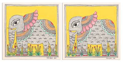 Elephant Motif Madhubani Paintings Diptych (Pair)