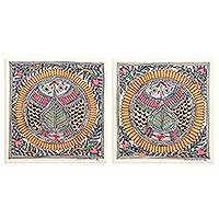 Madhubani diptych, 'Fish Unison' (pair) - Multicolored Fish-Themed Madhubani Diptych (Pair)