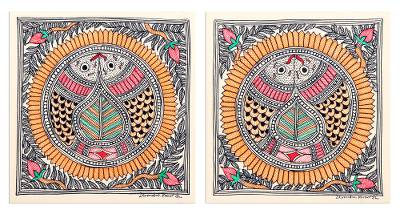 Multicolored Fish-Themed Madhubani Diptych (Pair)