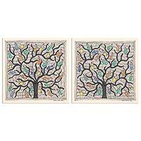 Madhubani painting diptych, 'Bird's Paradise' (pair) - Small Madhubani Paintings Diptych (Pair)