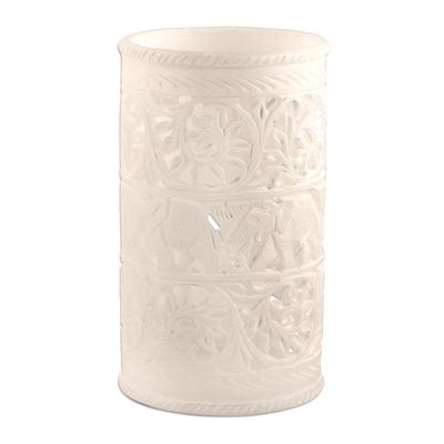 Alabaster decorative vase, 'Marching Elephants' - Carved Alabaster Elephant Themed Decorative Vase