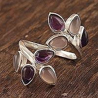 Amethyst and rose quartz cocktail ring, 'Leafy Glory' - Gemstone Cocktail Ring in Sterling Silver