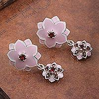 Garnet dangle earrings, 'Stars and Flowers' - Garnet and Sterling Silver Post Dangle Earrings Flower
