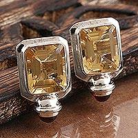 Citrine and garnet button earrings, 'Port Signal' - Button Earrings Octagon Faceted Citrine and Garnet Cabochon