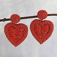 Glass bead dangle earrings, 'Romantic Heart in Red' - Crimson Beaded Heart Dangle Earrings