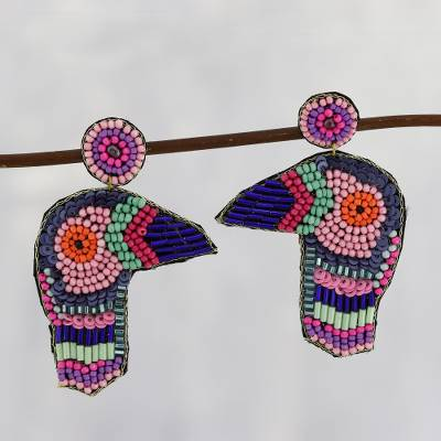 Glass bead dangle earrings, 'Woodpecker Delight in Pink' - Multicolor Beaded Woodpecker Dangle Earrings