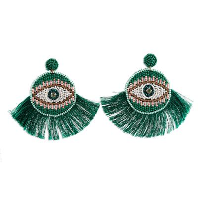 Emerald Green Glass Bead Dangle Eye Earrings