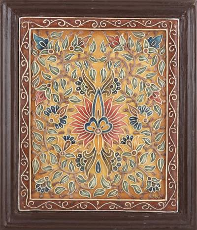 Marble wall art, 'Spring Fantasy' - Hand Crafted Marble Dust Wall Art from India