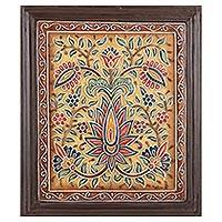 Marble wall art, 'Floral Cascade I' - Framed Floral Marble Wall Art from India