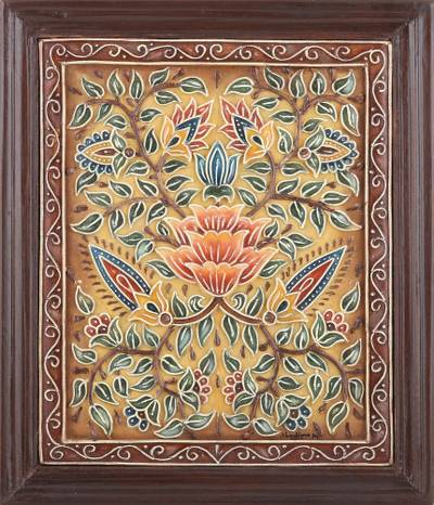 Marble wall art, 'Floral Passion' - Artisan Crafted Floral Marble Relief Panel