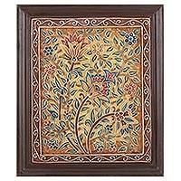 Marble wall art, 'Bouquet of Flowers' - Framed Hand Painted Floral Relief