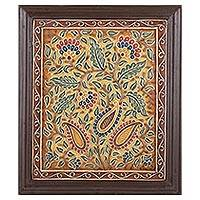 Marble wall art, 'Paisley Harmony' - Colorful Hand Painted Marble Relief