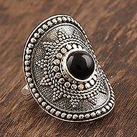 Onyx cocktail ring, 'Royal Rawa' - Dramatic Onyx and Sterling Silver Cocktail Ring