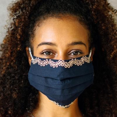 Cotton face masks, 'Vines of Gold' (set of 3) - Set of 3 Pleated Cotton Face Masks Embroidered Vines
