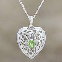 Peridot pendant necklace, 'Heart of India' - Jali Style Heart Pendant Necklace with Peridot