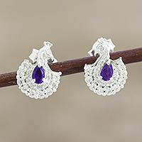 Amethyst drop earrings, 'Peacock Beauty' - Amethyst and CZ Peacock Drop Earrings