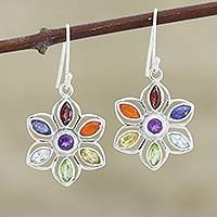 Multi-gemstone dangle earrings, 'Chakra Flower' - Chakra Flower-Shaped Multi-Gemstone Earrings