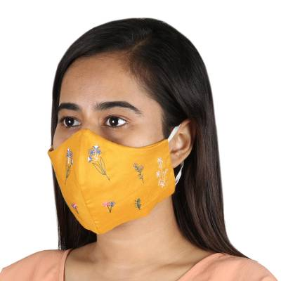 Rayon face masks, 'Flower Fusion in Saffron' (set of 3) - Set of 3 Triple Layer Rayon Face Masks with Flowers