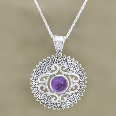 Amethyst pendant necklace, 'Force of Nature' - Amethyst Pendant Sterling Silver Necklace