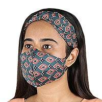 Viscose face mask and headband, 'Mesmerize' - Printed Face Mask and Headband Set from India