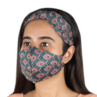 Viscose face mask and headband, Mesmerize