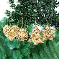Beaded satin ornaments, 'Bollywood Holiday' (set of 4) - Handmade Gold Beaded Holiday Ornaments (Set of 4)