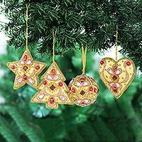 Beaded satin ornaments, 'Lavish Holiday' (set of 4) - Red and Gold Embellished Satin Ornaments (Set of 4)