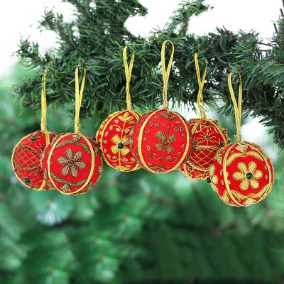 Embroidered velvet ornaments, 'Velvet Holiday' (set of 6) - Beaded and Embroidered Velvet Ornaments (Set of 6)