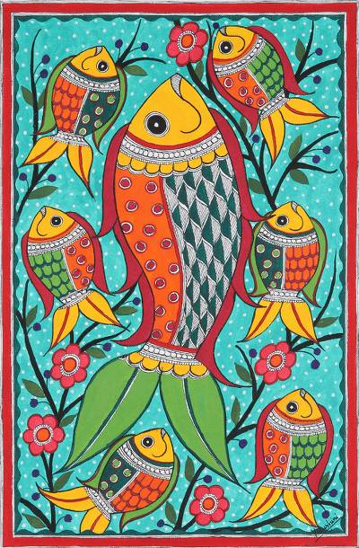 Madhubani painting, 'Fish Family' - Madhubani Style Fish Painting
