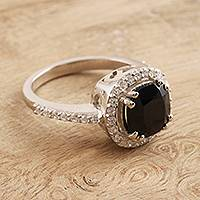 Spinel cocktail ring, 'Glamour at Midnight' - Black Spinel and Cubic Zirconia Cocktail Ring